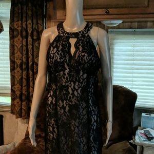 Black lace fan tail formal gown